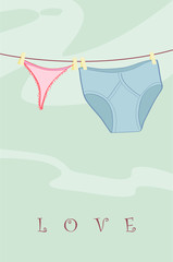 The underwear dries on rope. Vector illustration.