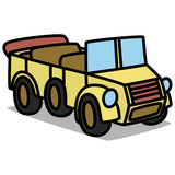 Cartoon Car 93 : Vintage Military Vehicle