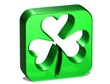 3D green clover over white background