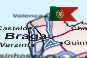 pin with flag of Portugal in Braga