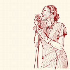 Sketch of a jazz singer