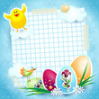 Easter background with eggs and funny chick
