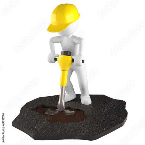 Bauarbeiter Pressluft Hammer