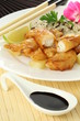 Fried sole and soy sauce