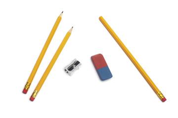 Bleistifte, Radiergummi, Anspitzer