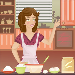 Retro woman cooking