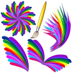 Rainbow Colors Paint and Brush-Colori Arcobaleno e Pennello