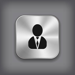 Man silhouette icon - vector metal app button