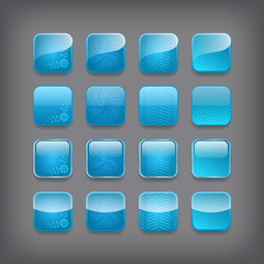 Set of blank blue buttons