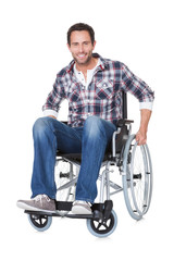 Portrait of middle age man in wheelchair