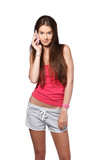 young brunette teenager making a call