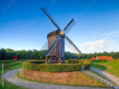 Dutch Wooden Windmill in an Old Fortified Village