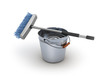 Cleaning equipment. Bucket and mop