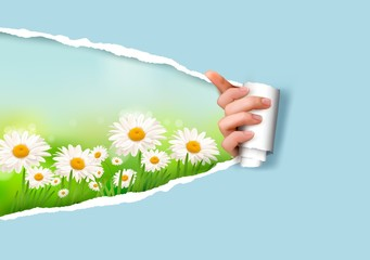 Nature background with flowers and ripped paper. Vector illustra