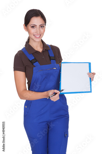 Female Plumber With Clipboard