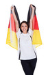 Attractive Woman Shows Flag Of Germany