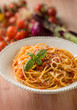 spaghetti with tomato sauce  selective focus