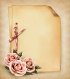 Fototapety Retro background with beautiful pink rose and old paper. Vector