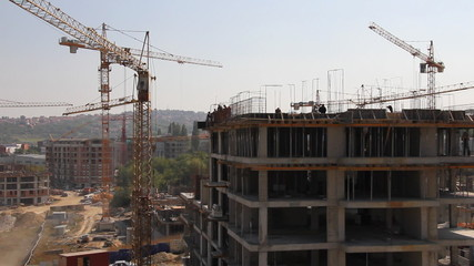 Construction site, building of apartments