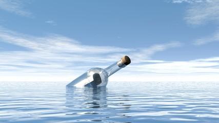 Help bottle and leaving boat - 3D render