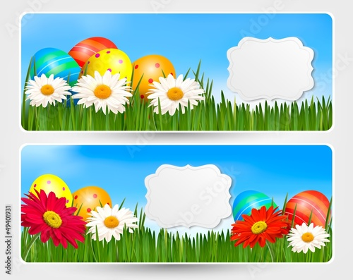Easter banners with Easter eggs and colorful flowers. Vector ill