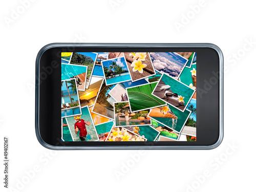 Téléphone portable et photos de vacances