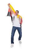 Portrait Of A Happy Man Holding An German Flag