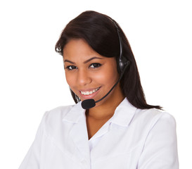 Happy Woman Wearing Headset