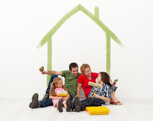 Family repainting their home concept