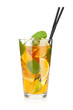 Glass of ice tea with lemon, lime and mint
