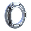 Silver porthole white background