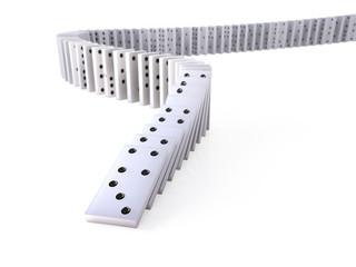 White dominoes falling over