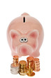 canvas print picture - Rosa Sparschwein und Euromünzen - Pink piggy bank and euro coin