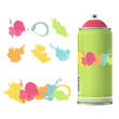 Spray color with graffiti drop. Vector design.
