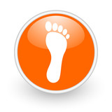 footprint orange circle glossy web icon on white background