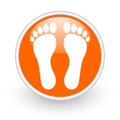 footprint orange circle glossy web icon on white background