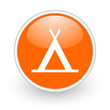 camping orange circle glossy web icon on white background