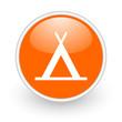 camping orange circle glossy web icon on white background