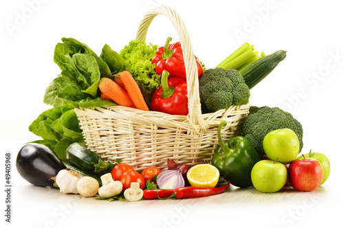 raw vegetables in wicker basket isolated on white - 49405968