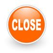 close orange circle glossy web icon on white background