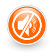 mute orange circle glossy web icon on white background