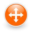 arrows orange circle glossy web icon on white background