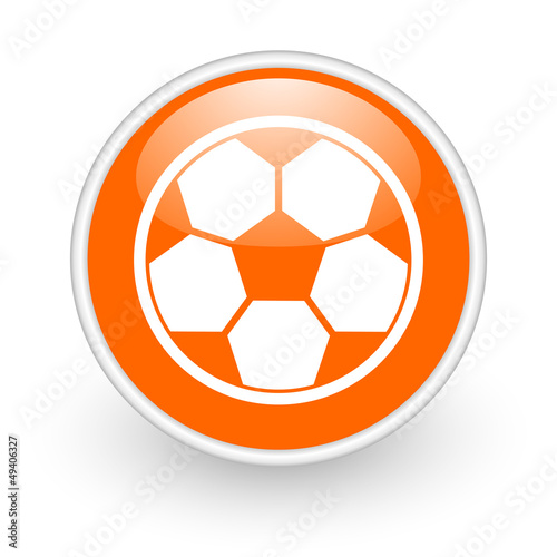 soccer orange circle glossy web icon