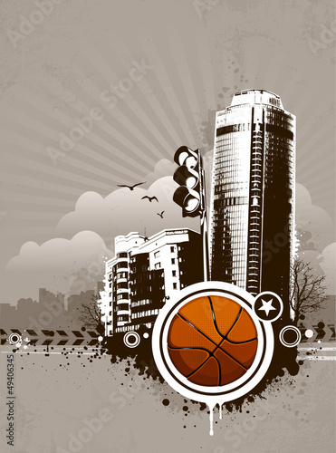 Grunge urban basketball background
