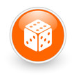 dice orange circle glossy web icon on white background