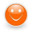 smile orange circle glossy web icon on white background