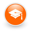 graduation orange circle glossy web icon on white background