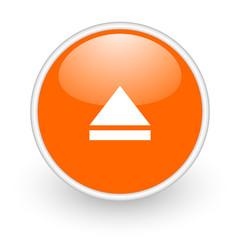 eject orange circle glossy web icon on white background