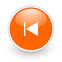 prev orange circle glossy web icon on white background