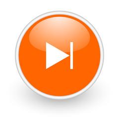 next orange circle glossy web icon on white background